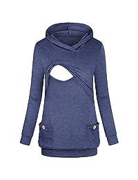 BOLUOYI Women's Nursing Hoodie Long Sleeves Tops Breastfeeding Hoodie Sweatshirt