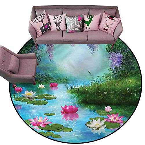 (Floor Entrance Rug Nature,Fantasy Pond Water Lily Diameter 72