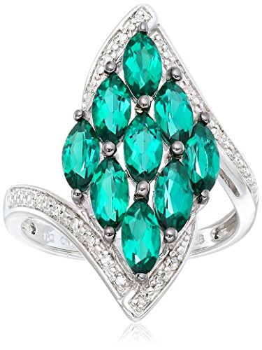 Black Rhodium Plated Sterling Silver Bypass Marquise Created Emerald Diamond Accent Ring, Size (Marquise Created Emerald Ring)