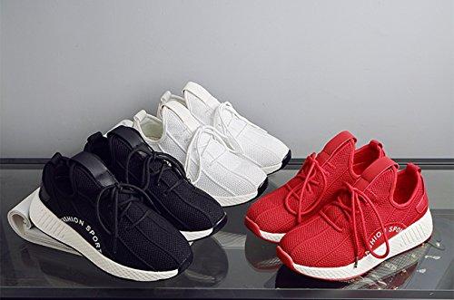 Solide Blanc Respirant Lacets Newcolor Occasionnels Chaussures Marche Femmes Tricot Couleur De À qwPcPErg