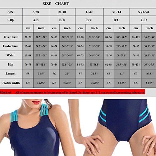 Zhhlaixing Fashion Women's Swimsuit Siamese Swimwear Comfortable Swimming Costume Dark Blue