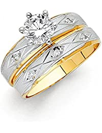 Ladies Solid 14k Two 2 Tone White and Yellow Gold Polished CZ Cubic Zirconia Round Cut Engagement Ring and Wedding Band, 2 Piece Matching Bridal Set