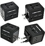 Master- Adaptador de energía universal para viajes internacionales, incluye 2 puertos USB y compatible con todos los niveles de tensión