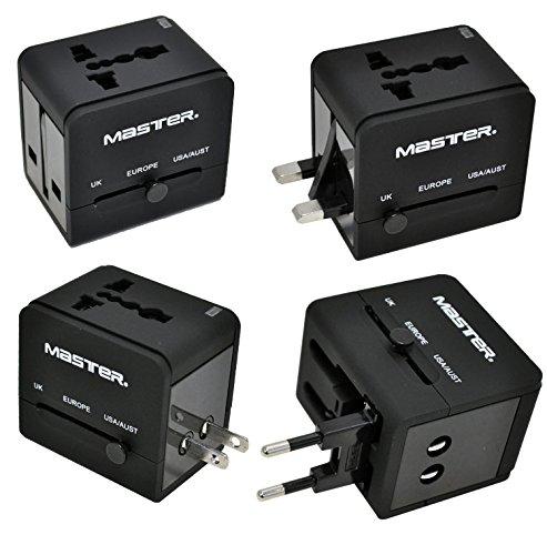 Master- Adaptador de energía universal para viajes internacionales, incluye 2 puertos USB y compatible con todos los niveles...