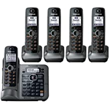 Panasonic KX-TG155SK DECT 6.0 Link-to-Cell via Bluetooth Cordless Phone with Answering System, Metallic Gray, 5 Handsets