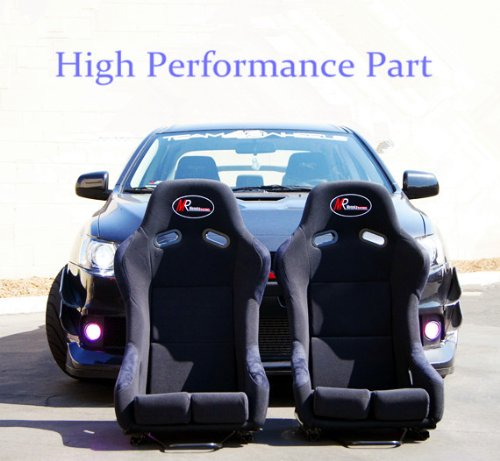 HPP Brand New Medium Black Color JDM Style Light Weight Gradient Cushion Spec-E Pro Racing Seat (1 Pair-2 pc) with Black FPR Shell Bucket and Slider