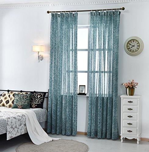 Nicetown Paisley Pattern Faux Linen Sheer Voile Curtain Panels (One Pair, W50 x L84, Turquoise Blue)