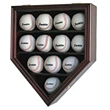 12 Baseball Display Case Wall Cabinet Shadow Box, UV Protection Door, B12(UV)