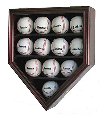 12 Baseball Display Case Wall Cabinet Shadow Box, UV Protection Door, B12(UV) (Mahogany Finish)