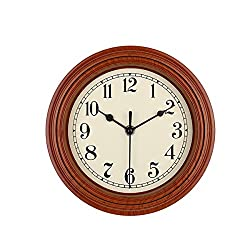 Foxtop Silent Minimalist Wall Clock Non Ticking Digital Quiet Sweep 9-Inches Home Decor Round Vintage Resin Wall Clocks (Brown)