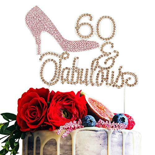 High Heel 60 & Fabulous Pink and Gold Rhinestone 60th Birthday Cake Topper Sixty Birthday Cake Topper Premium Sparkly Crystal Rhinestone Bday Party Decorations -