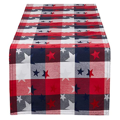 Fennco Styles Checkered Stardom Collection Traditional Plaid Cotton Blend 16 x 72 Inch Table Runner - Multicolor Table Runner for Banquets, Natinal Holidays, Special Events and Home Décor -