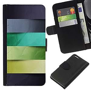 KingStore / Leather Etui en cuir / Apple Iphone 5C / Gris Azul Verde Hojas Líneas Patrón