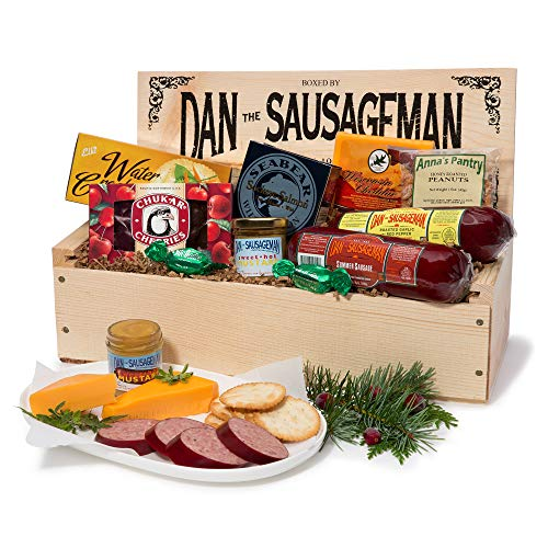 Harry And David Tower - Dan the Sausageman's Favorite Gourmet Gift Basket -Featuring Dan's Original Sausage, Seabear Smoked Salmon, 100% Wisconsin Cheeses, and Dan's Sweet Hot Mustard