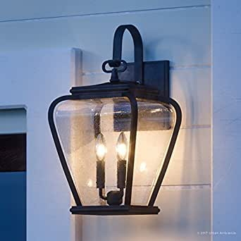 """Luxury French Country Outdoor Wall Light, Large Size: 19""""H x 9.5""""W, with Mediterranean Style Elements, Soft and Simple Design, Inky Black Silk Finish and Seeded Glass, UQL1202 by Urban Ambiance"""