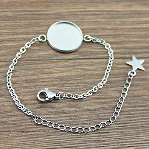 WYSIWYG 12 Pieces Chain Link Bracelet Couple Five-Pointed Star Single Inner Size 18mm Round Glass cabochons Cameo Base Tray Bezel ()