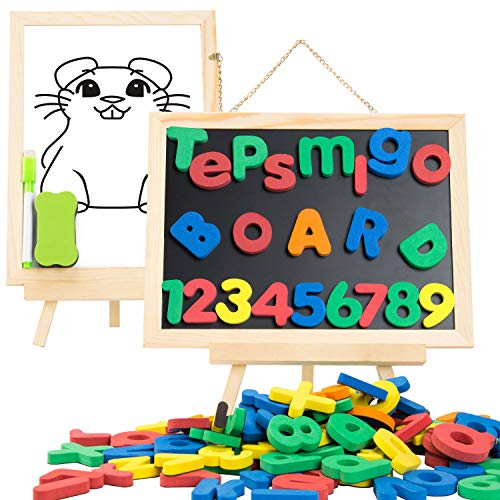 TEPSMIGO Kids Magnetic Letters Numbers Wooden Board Double Sided, with 133 pcs Foam Fridge ABC Magnets, Educational for Toddler Boys Girls Learning, Spelling and Drawing (Set Magnetic Number)