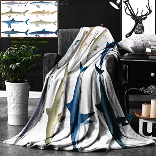 Ralahome Unique Custom Digital Print Flannel Blankets Sea Animal Decor Types Angel Cow Hammerhead Sand Sharks Mammals Species Nautical Gr Super Soft Blanketry Bed Couch, Twin Size 80 x 60 Inches