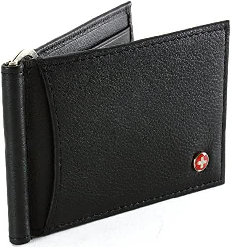 Alpine Swiss RFID Blocking Men's Leather Spring Loaded Money Clip Wallet