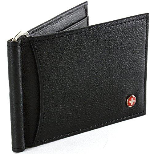 Mens Alpine Swiss Money Clip Front Pocket Wallet Spring Clip 9 Card Slots Leather - Black (Man Spring)