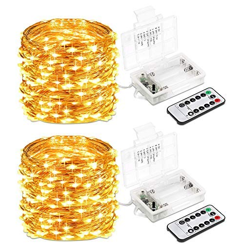 Lsmila 2 Pack LED String Lights 33ft 100 LED,Battery Operated Remote Control, Waterproof Outdoor&Indoor Decorative Light Bedroom,Garden,Patio,Wedding,Parties(Copper Wire Lights,Warm White) [並行輸入品] B07RB2FS7Z