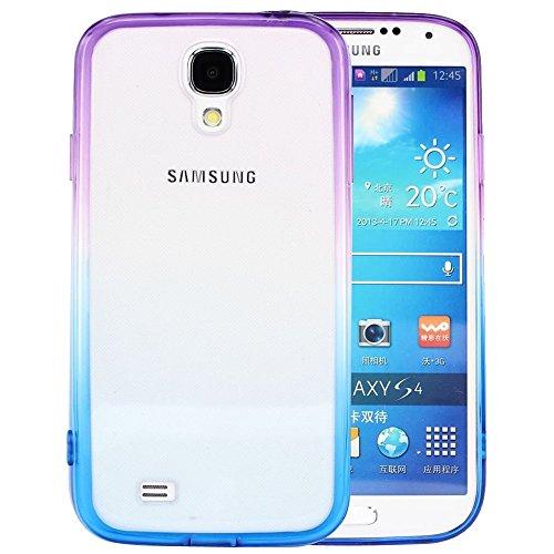 Bumper Silicone Skin (S4 Case, Samsung S4 Case,Galaxy S4 Case ,BAISRKE Purple and Blue Gradient TPU Soft Edge Bumper Case Rubber Silicone Skin Cover for Samsung Galaxy S4 I9500 I9505)