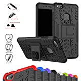Huawei P10 Lite Case,Mama Mouth Shockproof Heavy Duty Combo Hybrid Rugged Dual Layer Grip Cover with Kickstand for Huawei P10 Lite 2017 (with 4 in 1 Packaged),Black