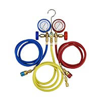 Orion Motor Tech 5FT AC Diagnostic Manifold Freon Gauge Set for R134A R12, R22, R502 Refrigerants, with Couplers and ACME Adapter by Orion Motor Tech