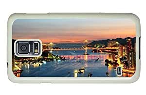 Hipster carrying Samsung Galaxy S5 Cases hong kong city night PC White for Samsung S5