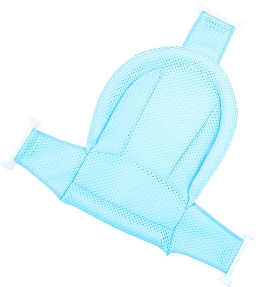 IWILCS Plegable Baño Bañera Almohadilla Bebé Soporte Para El Baño Bebé con Red para Bebés 0-36 Meses (Azul)