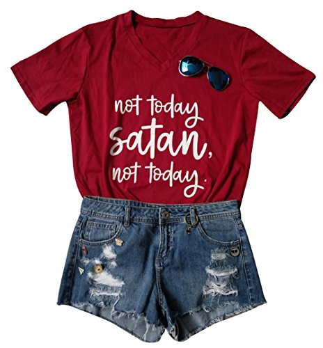 Women's Not Today Satan V-Neck T-Shirt Casual Short Sleeve Letter Print Top Tees Size US M/Tag L (Red)