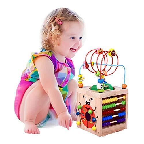 BeebeeRun Actividad de Madera Cubo 6 en 1 Juguete de Madera Educativo para ninos pequenos y Juguetes (Wooden)
