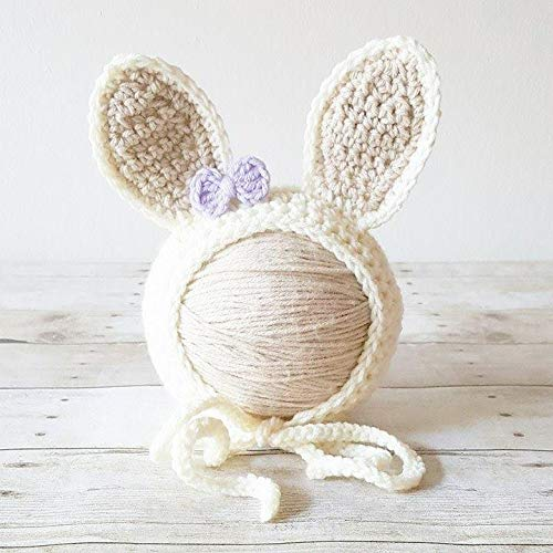 3b19cb6bb6a Amazon.com  Crochet Baby Bunny Rabbit Bow Bonnet Hat Beanie Infant Newborn  Baby Easter Spring Handmade Photography Photo Prop Baby Shower Gift  Present  ...