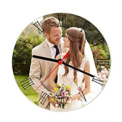 Battery Powered Round Clock Glass Custom Picture Frames Create Your Own Personalized Picture Frames DIY Custom Photo Wall Tabletop Frames Customized Sculptural Frames Holders, Xmas Gift