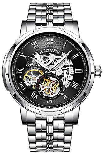 Classic Automatic Mechanical Men's Watch Full Stainless Steel Skeleton Roman Numeral dial (Black)