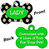 Double Sided Flowers Pet Id Dog Tags Personalized With 4 Lines of Text (Green & Black)