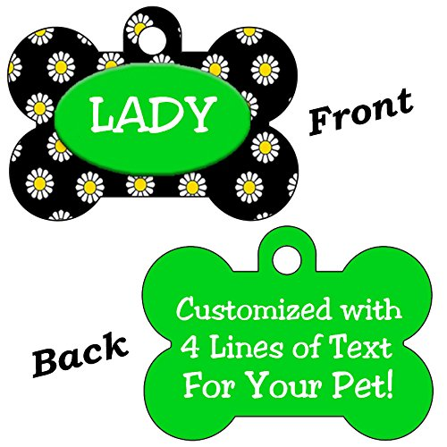 Double Sided Flowers Pet Id Dog Tags Personalized With 4 Lines of Text (Green & Black) by uDesignUSA
