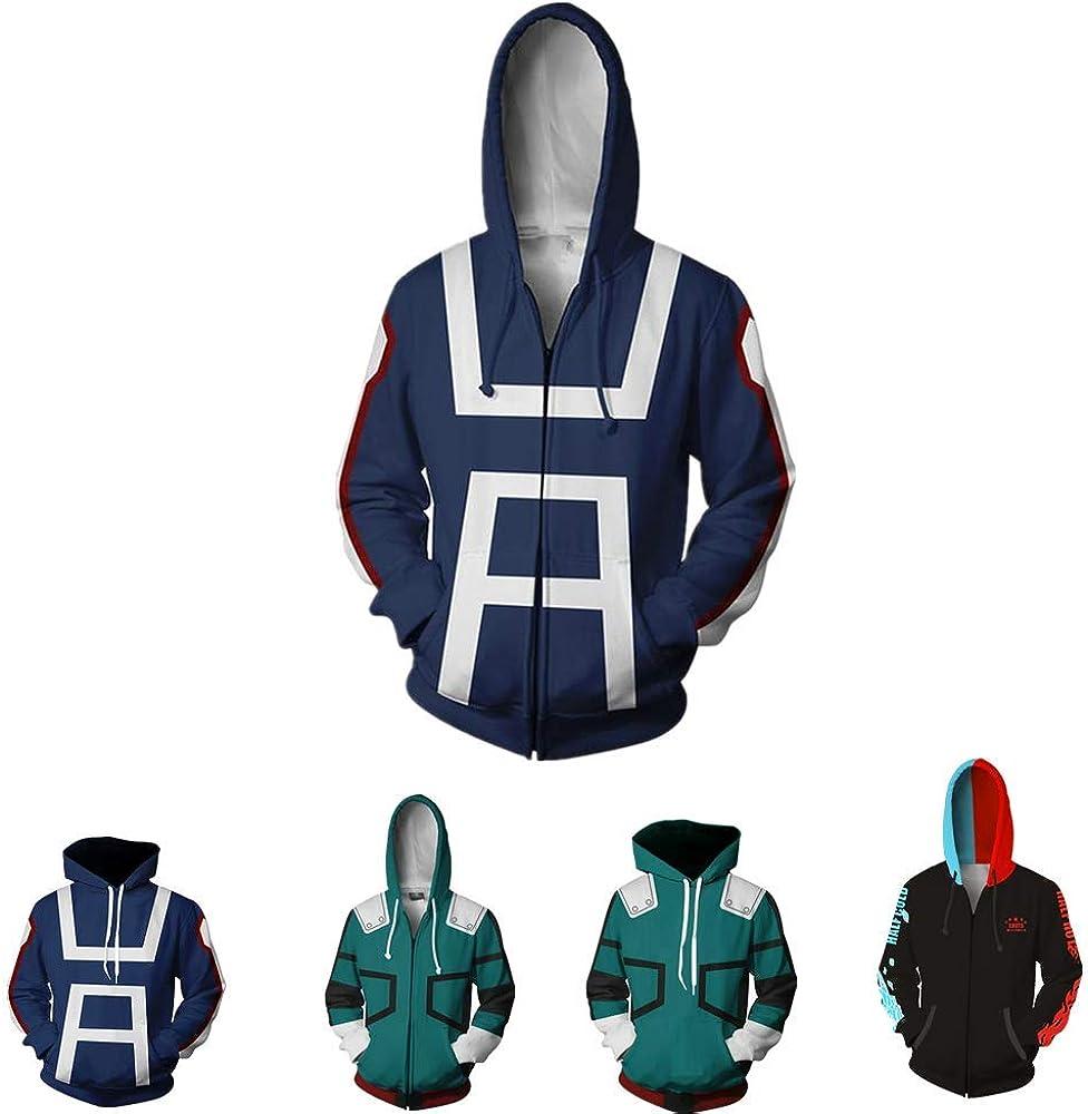 AKQJO My Hero Academia Cosplay Shoto Todoroki Hoodies Cotton Pullover Sweatshirt Jacket Coat CostumeUnisex