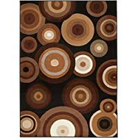 NEW CHATEAU S12 BLACK BEIGE ABSTRACT GEOMETRIC CIRCLE ABSTRACT STYLE AREA RUG (2 X 3 ACTUAL IS 22 X 35)