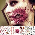10 Sheets Scars Tattoos Stickers Temporary Tattoos Face Scar Sticker for Halloween Party?Temporary Prop Zombies Cosplay and Makeup, Waterproof Sweatproof Terror Wound Injury Scar Blood Fake Tattoo