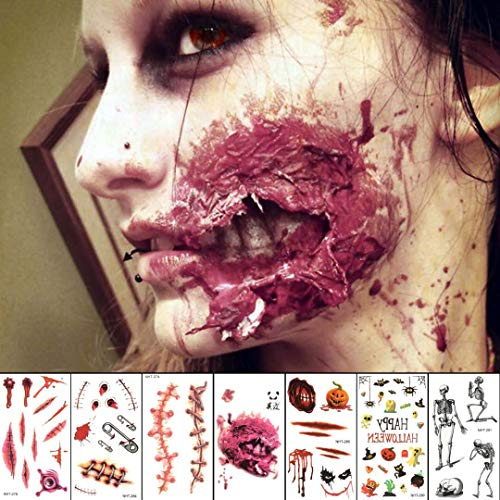 10 Sheets Scars Tattoos Stickers Temporary Tattoos for Temporary Prop Zombies Cosplay and Makeup, Waterproof Sweatproof Terror Wound Injury Scar Blood Fake Tattoo]()