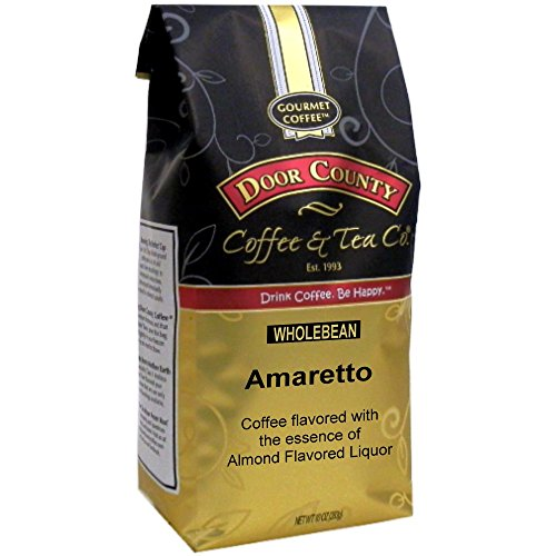Amaretto Flavored Coffee Beans - Door County Coffee, Amaretto, Wholebean, 10oz Bag