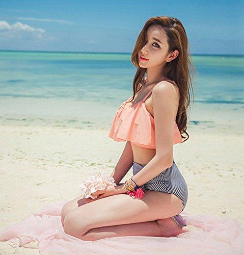 De las mujeres de baño Set de baño bikini Set giro de cintura alta Naranja