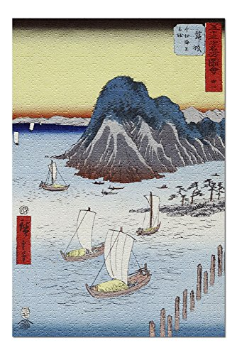 Ships Offshore with Small Peninsula and Large Mountain Japanese Wood-Cut Print (20x30 Premium 1000 Piece Jigsaw Puzzle, Made in USA!)