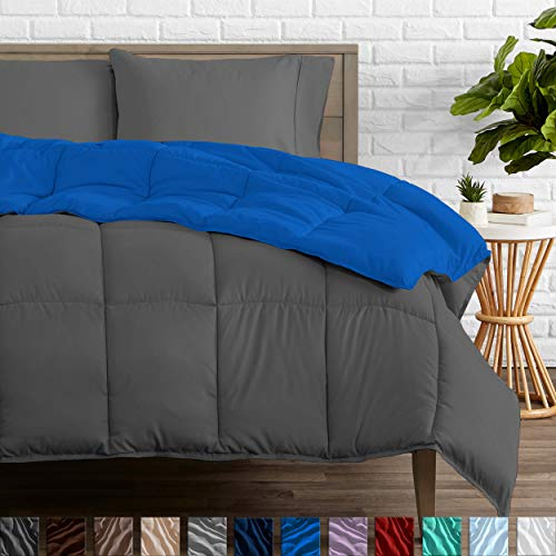 Bare Home Reversible Comforter - Twin/Twin Extra Long - Goose Down Alternative - Ultra-Soft - Premium 1800 Series - Hypoallergenic - All Season Breathable Warmth (Twin/Twin XL, Grey/Medium Blue)