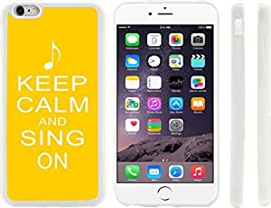 Rikki KnightTM Keep Calm and Sing On Yellow Color Design iPhone 6 Plus Case Cover (Clear Rubber with raised front bumper protection) for Apple iPhone 6 Plus