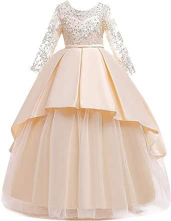 Vestido de niña de Manga Larga de Encaje, Vestido de niña de Tul Formal de Ceremonia Nupcial para Princesa Bowknot de Encaje de niña Beige Medium: Amazon.es: Ropa y accesorios