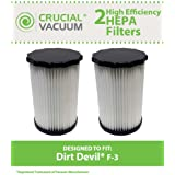 2 Highly Durable Washable & Reusable Dirt Devil F3 HEPA Filters; Compare to Dirt Devil Part No. 3-250435-001 (3250435001); Designed & Engineered by Think Crucial