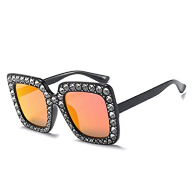 3bcf44781e 2018 Oversized Square Frame Bling Rhinestone Sunglasses Women Fashion  Shades UK (Black Frame Red Glasses)  Amazon.co.uk  Clothing