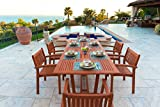Malibu V232SET5 Eco-Friendly 7 Piece Wood Outdoor Dining Set with Rectangular Extension Table and Stacking Chairs Review